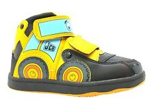 Boy's Jcb 3d Joey Digger Hi Top Black Velcro Trainer Style Ankle Boots New