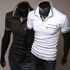 New Mens Sexy Casual Slim Fit Short Sleeves Polo Shirts 2 Colors 4 Size