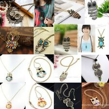 2014 Hot Fashion Womens Girls Silver Cute Owl With Big Eye Pendant Necklace Gift