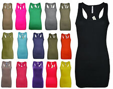 Womens B.C Long Vest  Dress Tank Top Ribbed Lycra STRETCH Size 6 to 24 Ladies