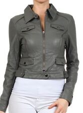 New Woman's Juniors Faux Leather Motorcycle Jacket Zipper Detail Fashion Central