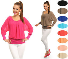 Ladies Bubble Chiffon Look Top Batwing Long Sleeve Jumper MADE IN ITALY 8-12 897