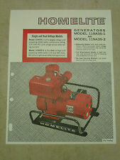 HOMELITE GENERATOR SALES BROCHURE SPEC SHEET