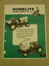 HOMELITE YARD TRAC RIDING LAWN MOWER SALES BROCHURE SPEC SHEET