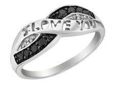 1/10 Carat (ctw) White and Black Diamond I Love You Promise Ring in Sterling S