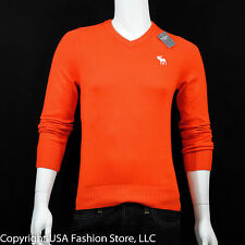 Abercrombie & Fitch Men's Sweater Vneck Orange NWT