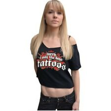 Girl girls Frauen Top half shirt Sorry Boys i only like with tattoos tattoo ink
