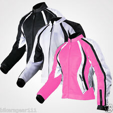 Ladys Motorcycle Tech Mesh Vented Waterproof Summer Cordura CE Armour Jacket