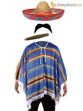 Mexican Poncho + Accessories Fancy Dress Costume Bandit Western Stag Do Party