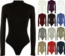 New Womens Turtle Neck Bodysuit Ladies Long Sleeve Stretch Leotard Top 8 - 14