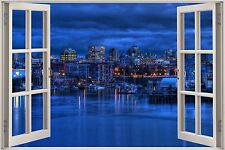 Huge 3D Window Enchanted River City View Wall Stickers Film Art Decal Wallpaper