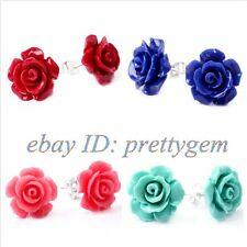 12MM HAND CARVED COMPOSITE FLOWER CORAL&WHITE GOLD PLATED STUD EARRINGS 1 PCS