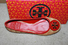 AUTH Tory Burch Women Reva Red Straw Flat Shoes