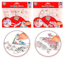 4 x Boys Girls Birthday Colour In Fairy,Jet Fighter Gliders Party Loot Bag Games