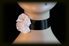 Goth Gothic Victorian French Can Can Burlesque WHITE Satin Rose Choker Necklace