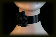 Goth Gothic Victorian French Can Can Burlesque BLACK Satin Rose Choker Necklace