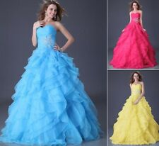 Lady Organza Quinceanera Prom Party Ball Gowns Wedding Formal Long Maxi Dress