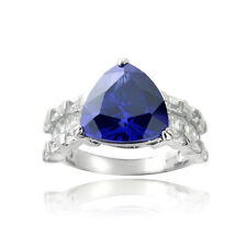 Icz Stonez Sterling Silver Blue Trillion Cubic Zirconia Polished Solitaire Ring