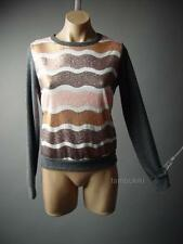 Sequined Stripe Glam Luxe Pullover Top Sweater Knit Jumper 71 df Sweatshirt S