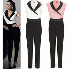 AC76 LADIES WOMEN CELEB KIM KARDASHIAN TUXEDO WET LOOK POCKET ZIP JUMPSUIT DRESS
