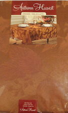 Fall Tablecloth Brown with Leaf Pattern Woven Damask Fabric Round or Oblong