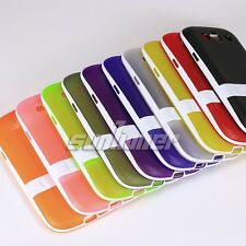 Stand Silicone Rubber TPU Gel Skin Case Cover for Samsung Galaxy S3, SGH- i747