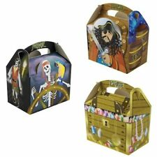 Childrens Kids  Pirate Birthday Party Box Bag Loot Favour Carry Boxes Food