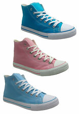 New Ladies Casual Lace Up Flat Leisure Hi Top Trainers Pumps Ankle Shoes UK 3-8