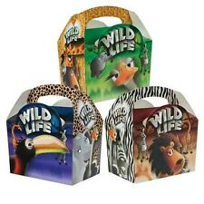 Childrens Kids Wildlife Birthday Party Box Bag Loot Favour Carry Boxes Food
