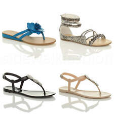 WOMENS LADIES FLAT STRAPPY GLADIATOR SUMMER ZIP SLIP ON FLIP FLOP SANDALS SIZE