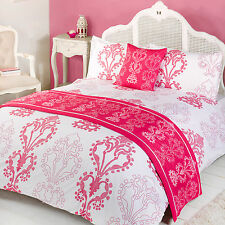 Eleanor Pink White Rococo Duvet Quilt Set Bed in a Bag Cushion Cover Runner