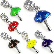 Wholesale Lot 10pcs Mushroom Silver European Spacer Charm Bead For Bracelet