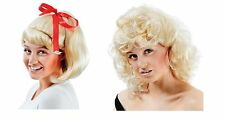 50'S HIGH SCHOOL SANDY BLONDE WIG CURLY/PONYTAIL GREASE FANCY DRESS