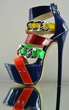 Red Kiss Shopaholic Navy Blue Multi Color Chain Strap Platform Color Block Shoe
