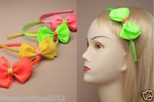 Neon Coloured  Ribbon Aliceband With Crossgrain Ribbon Bow Retro 80`s Disco UK