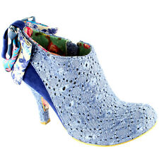 Ladies Irregular Choice Baby Beauty Bow Mid Heel Zip Ankle Boot Womens All Sizes