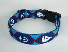 Anchors Ahoy Terri's Dog Collar nautical adjustable charming fabric handmade