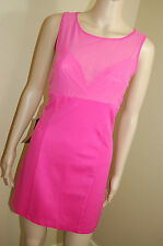 NEW Bebe Hot Pink Mesh Overlay Sleeveless Bodycon Ponte Dress~Size L