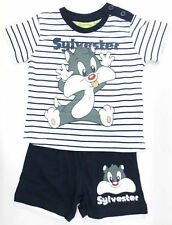 Infant boys Looney  tunes sylvester Navy/white striped shorts and t-shirt set