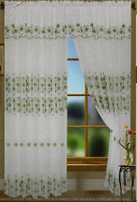 """Olga Embroidered Rod Pocket Curtain Panel with Attached Valance  55"""" W x 90"""" L"""