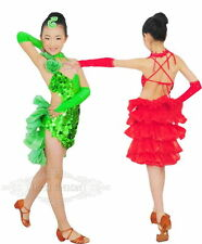HOT Girl Mermaid Cha Cha Tango Latin Salsa Ballroom Child Dance Dress Dancewear