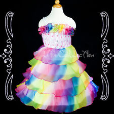 Flower Girls Wedding Pageant Rainbow Colored Ruffle Dresses NEW 2,3,4,5,6 years
