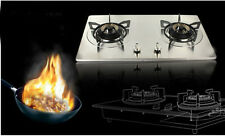 New Simple Safety Double Stove Stainless Steel Gas Stove Home Burner Silver $&