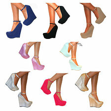 WOMENS WEDGE HIGH HEEL PLATFORM ANKLE STRAPPY SHOE SANDAL COURT PROM SIZE