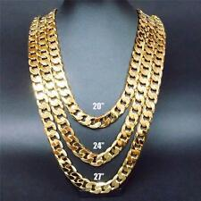 """24""""/27/30"""""""" Stapmed ITALY 12MM Heavy Yellow Gold Filled Chain Link Necklace"""