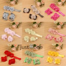 New Beautiful Foot Flower Barefoot Sandals w/ Baby Girl Infant Toddler Headband