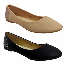 Ladies Ballerina Pumps Flats Ballet Studs Casual Womens Dolly Shoes Size UK 3-8