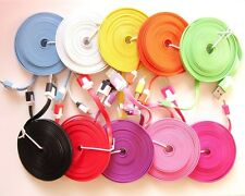 Set 2 x 10ft Colors 8 Pin USB Flat Noodle Charger Data Cable Cord iPhone 5 5c 5s