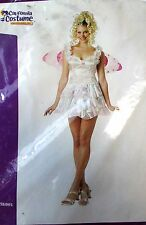 Fairy Pixie White Pink Wings Adult Costume Small Medium NIP