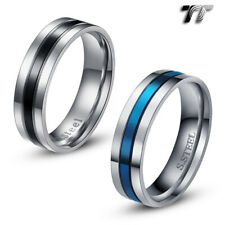 TT 6mm Blue/Black Stripe Stainless Steel Wedding Band Ring Size 6-13 (R115)